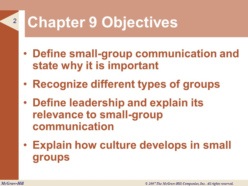 Chapter 9 Objectives Define small-group communication and state why it is important. Recognize different types of groups.