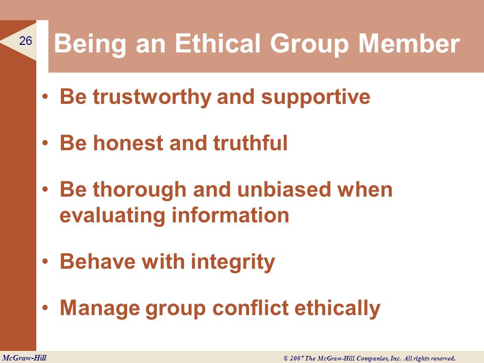 Being an Ethical Group Member