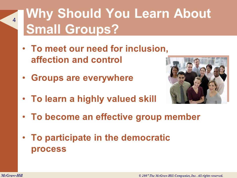 Why Should You Learn About Small Groups