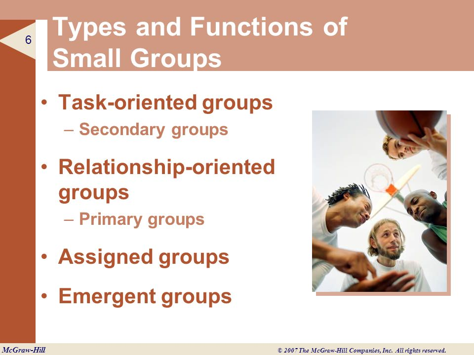 Types and Functions of Small Groups