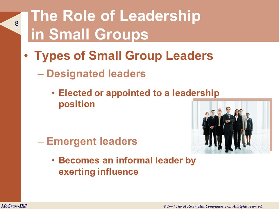 The Role of Leadership in Small Groups