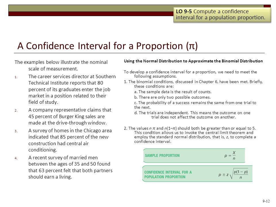 A Confidence Interval for a Proportion (π)