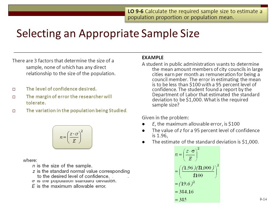 Selecting an Appropriate Sample Size