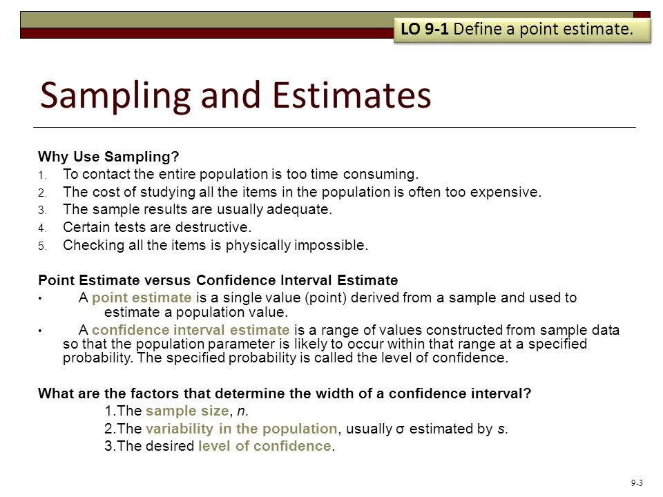 Sampling and Estimates