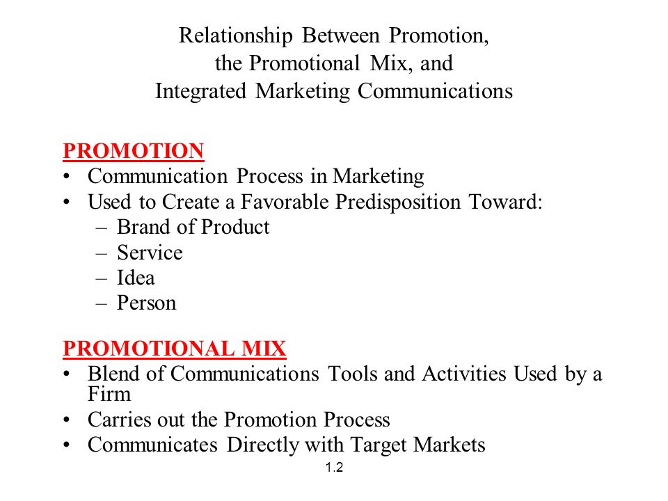 relationship of promotion to marketing