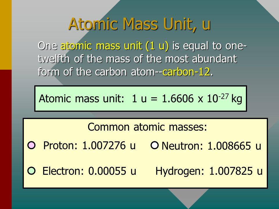 Atomic mass unit: 1 u = 1.6606 x 10-27 kg