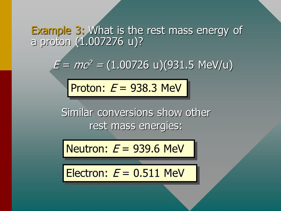 Example 3: What is the rest mass energy of a proton (1.007276 u)