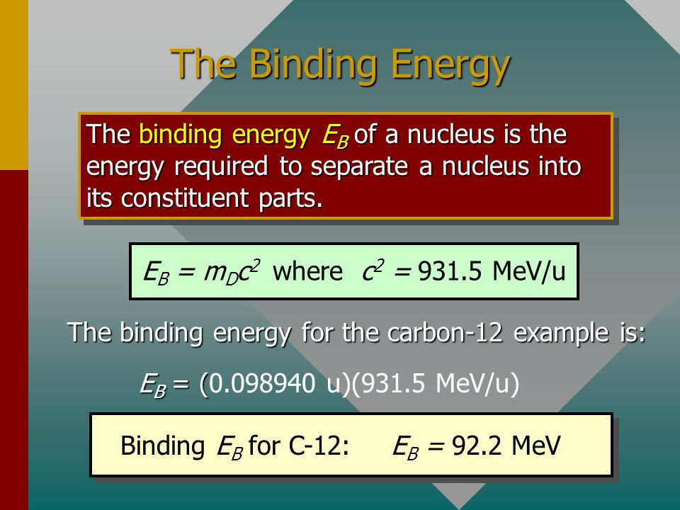 The binding energy for the carbon-12 example is: