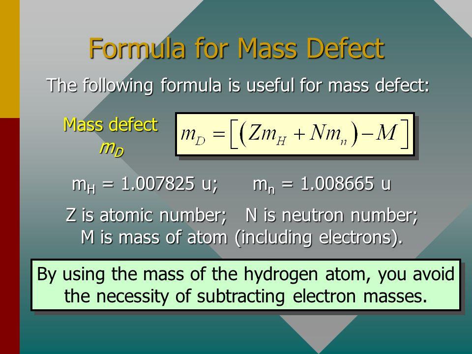 Formula for Mass Defect