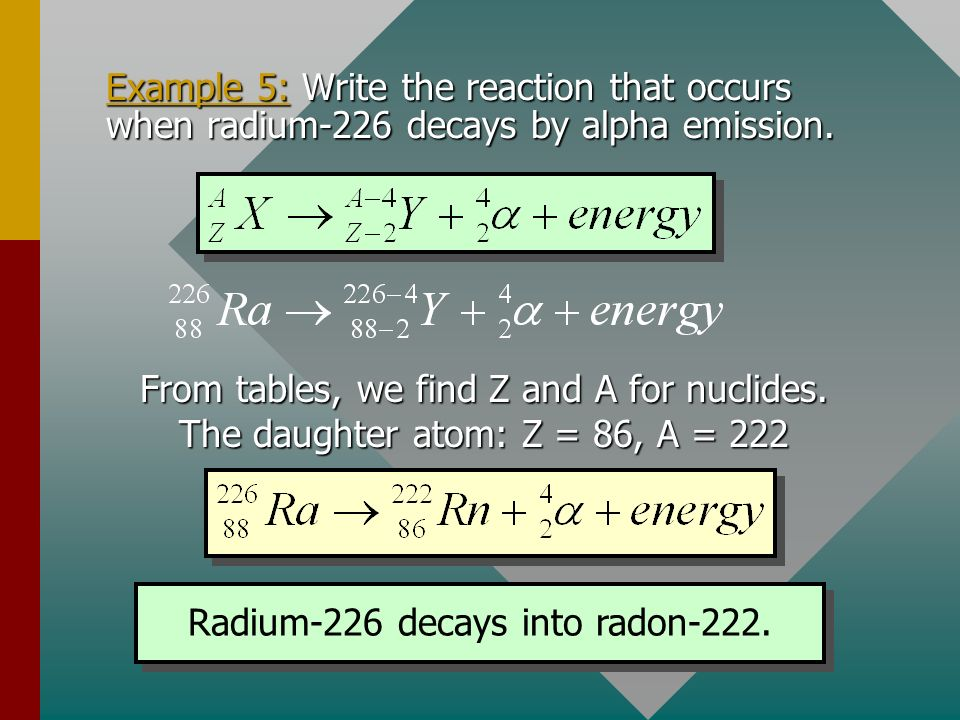 Radium-226 decays into radon-222.