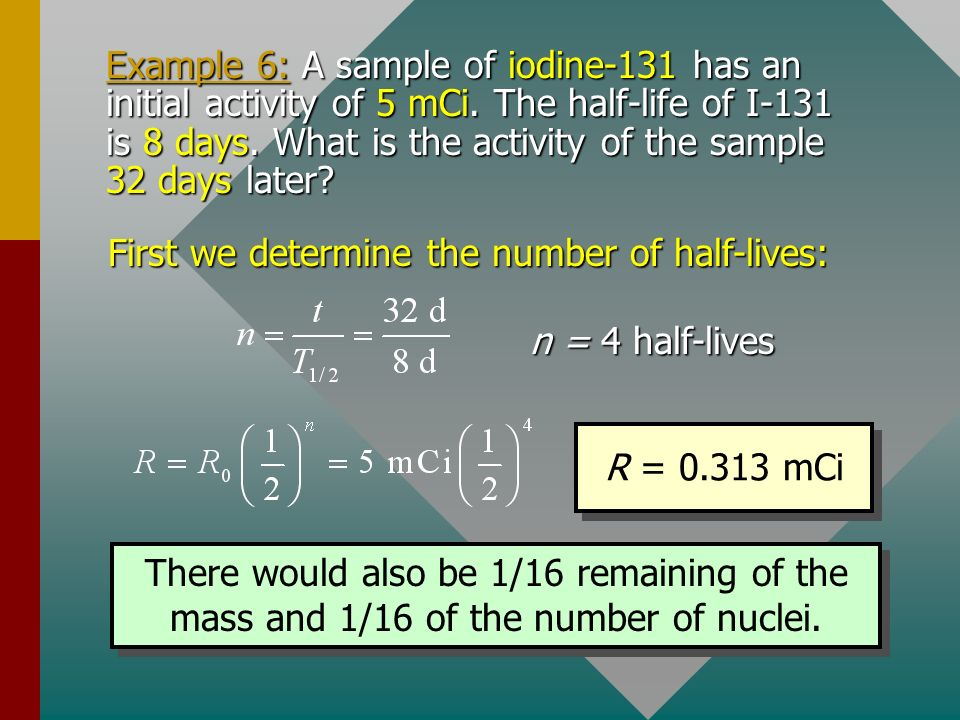 First we determine the number of half-lives: