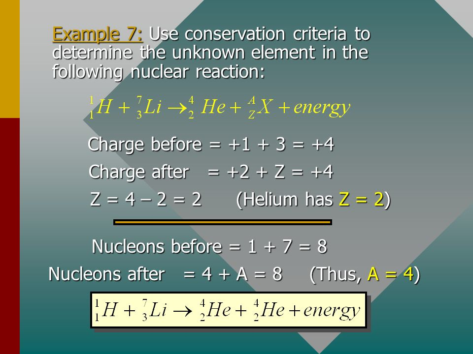Example 7: Use conservation criteria to determine the unknown element in the following nuclear reaction: