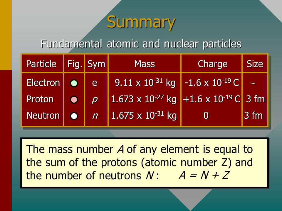 Fundamental atomic and nuclear particles