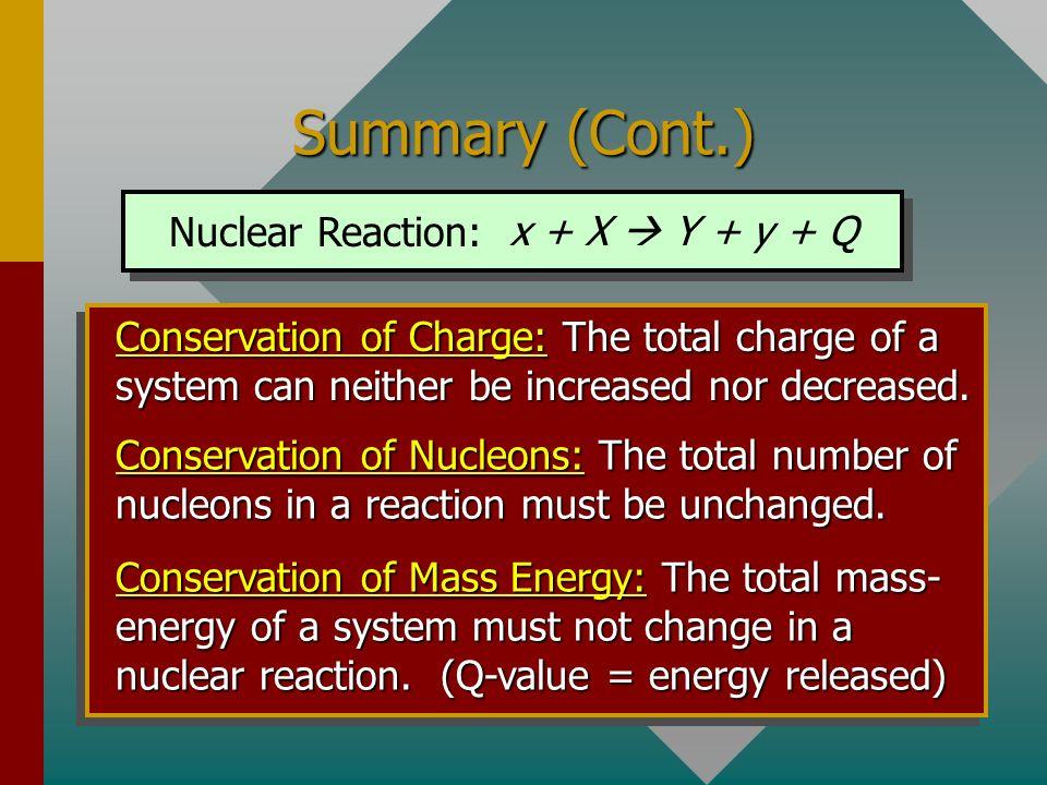 Summary (Cont.) Nuclear Reaction: x + X  Y + y + Q
