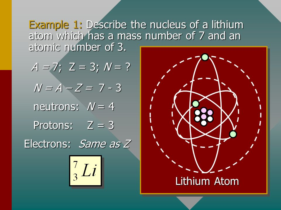 Example 1: Describe the nucleus of a lithium atom which has a mass number of 7 and an atomic number of 3.