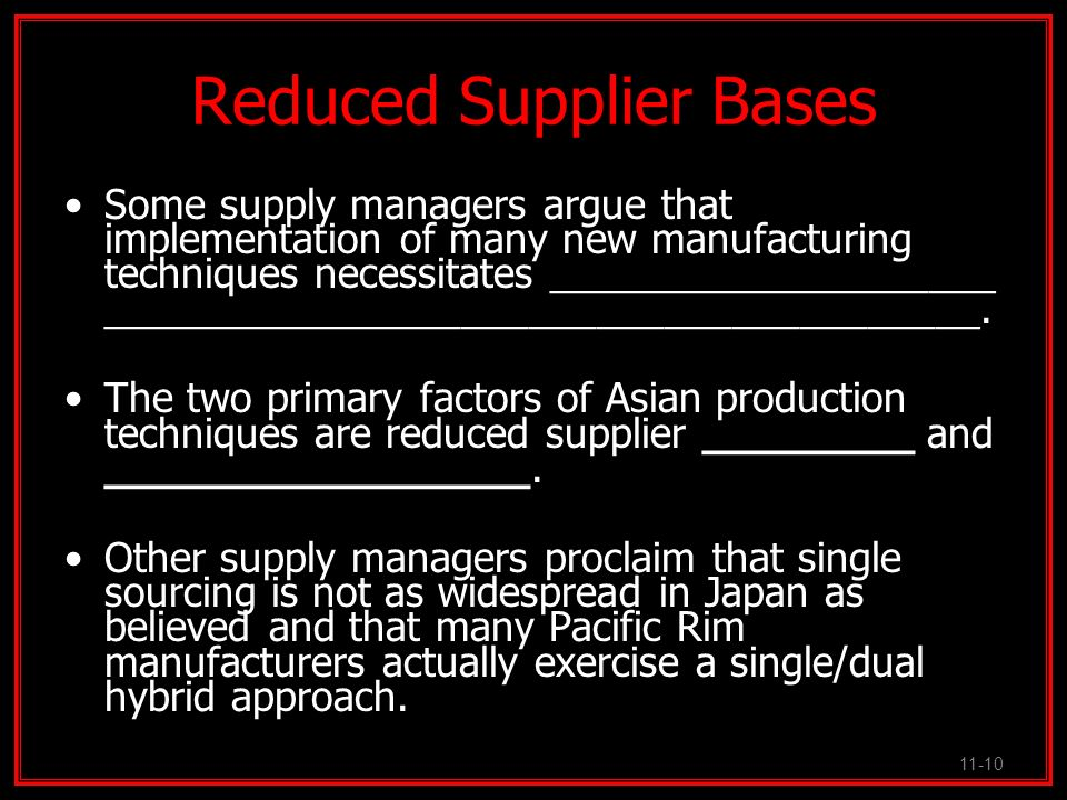 Reduced Supplier Bases