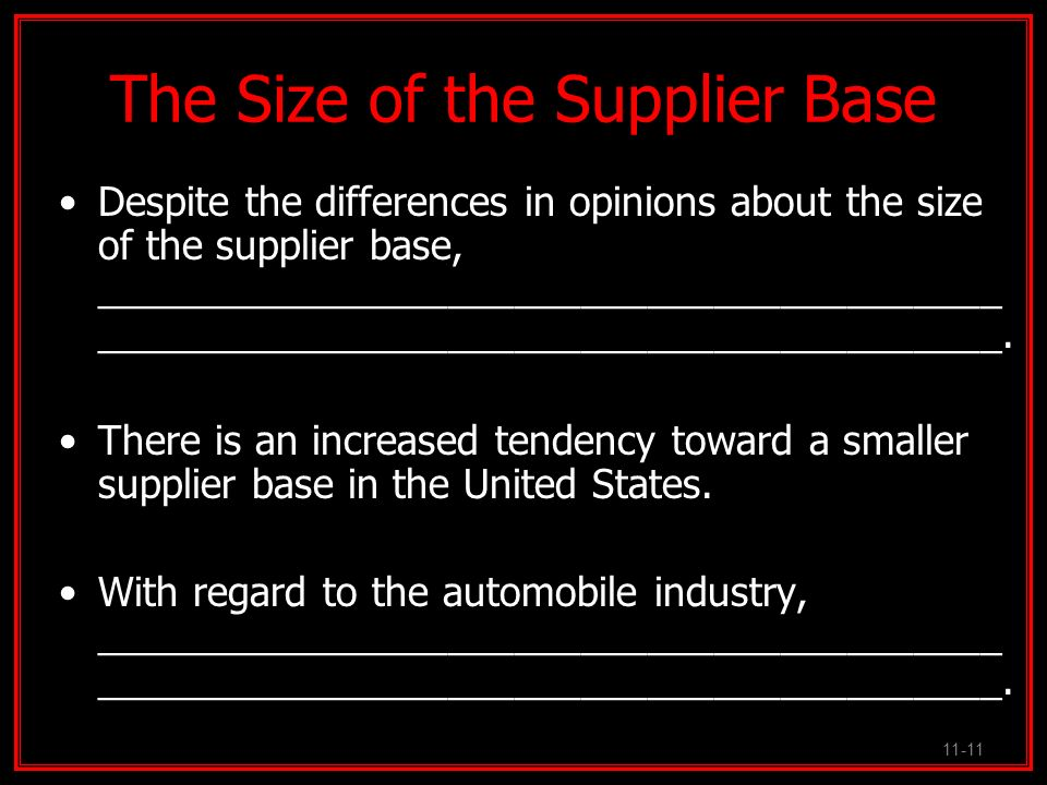 The Size of the Supplier Base