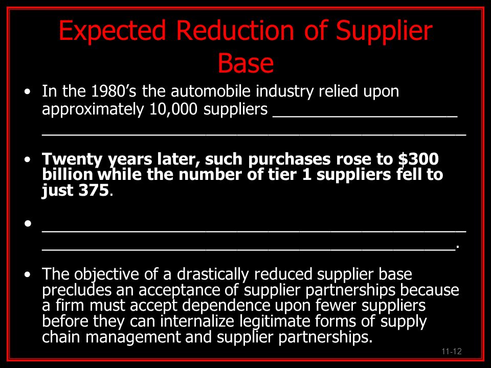 Expected Reduction of Supplier Base