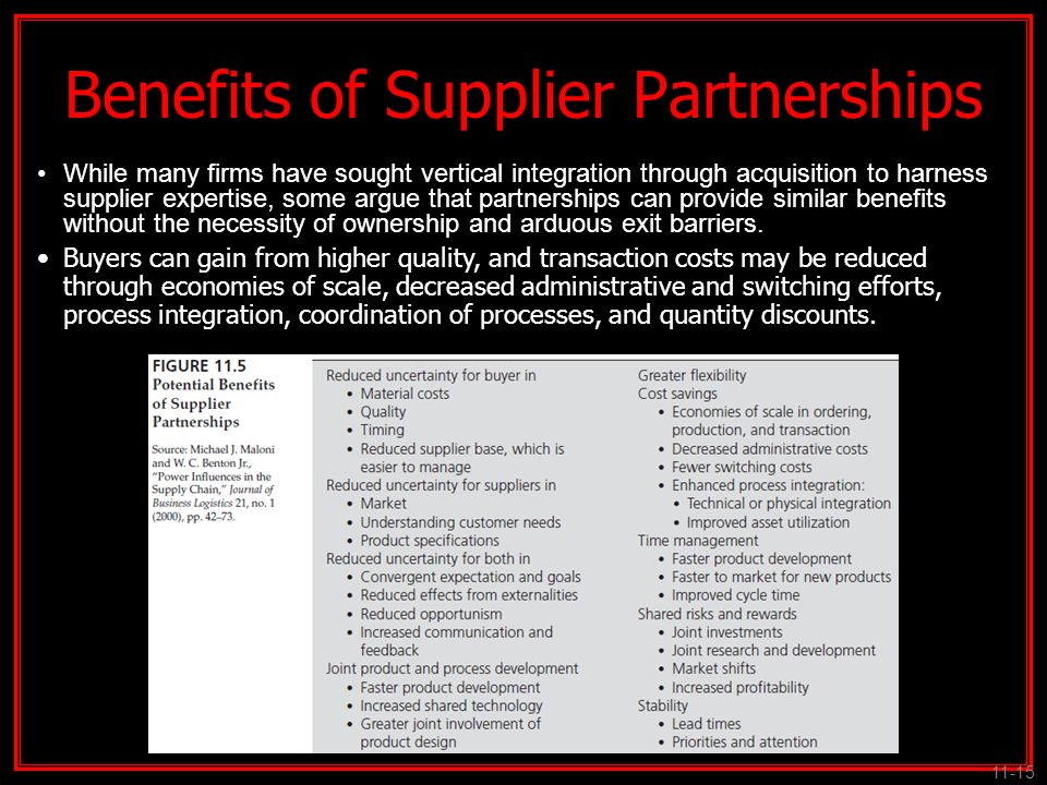 Benefits of Supplier Partnerships
