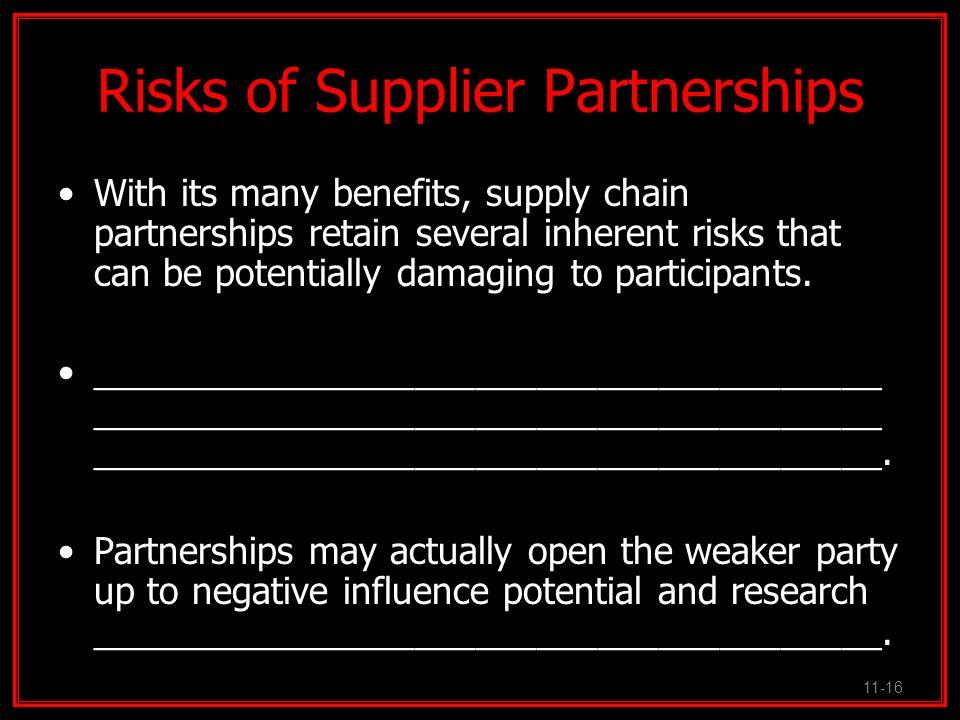 Risks of Supplier Partnerships