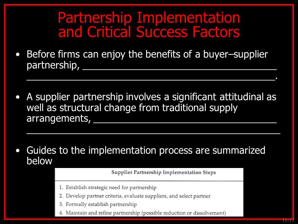 Partnership Implementation and Critical Success Factors