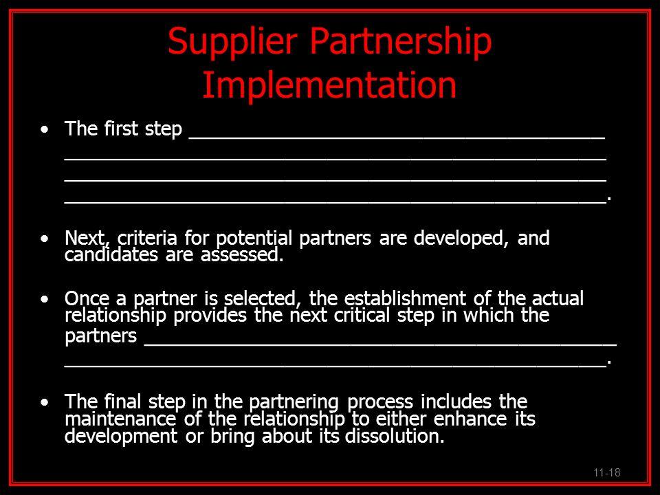 Supplier Partnership Implementation