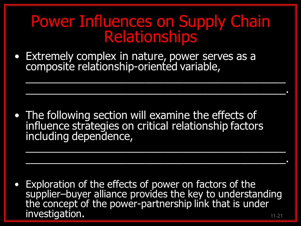 Power Influences on Supply Chain Relationships