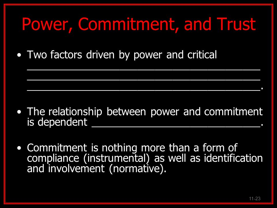 Power, Commitment, and Trust