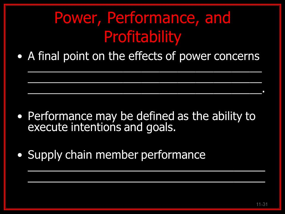 Power, Performance, and Profitability