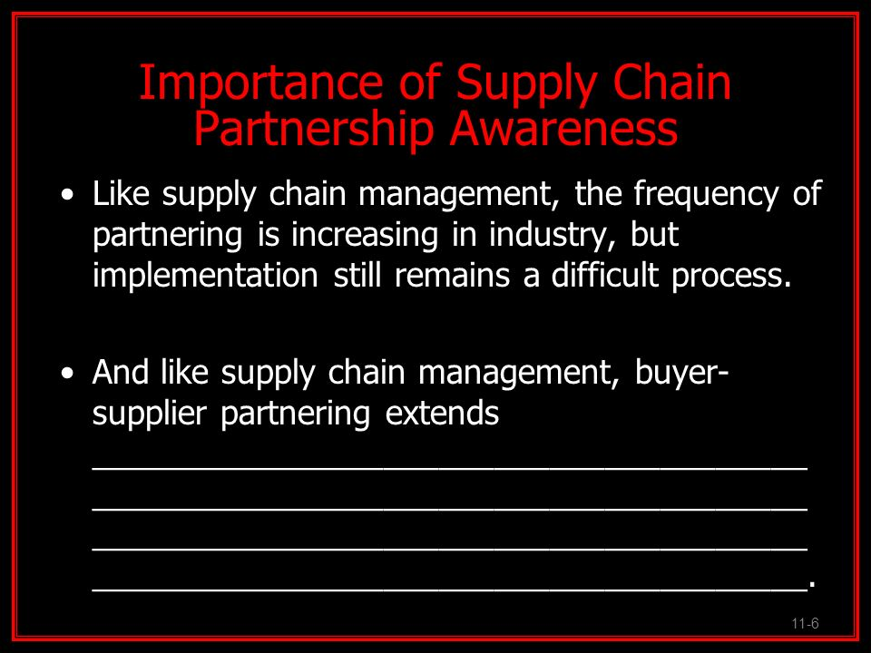 Importance of Supply Chain Partnership Awareness