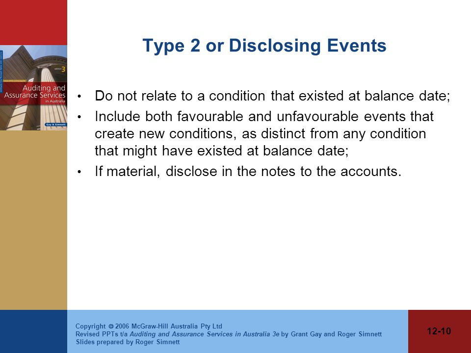 Type 2 or Disclosing Events