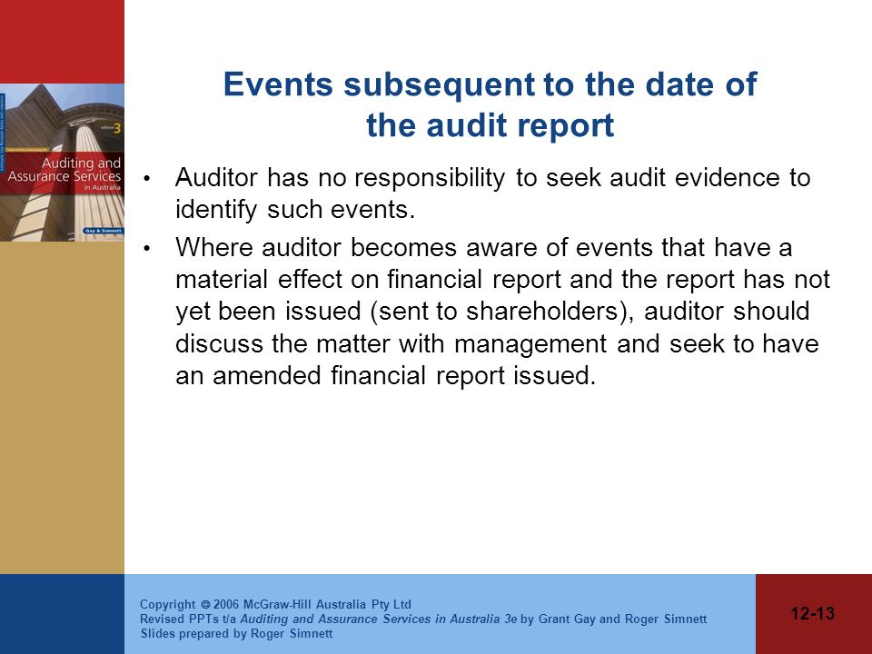 Events subsequent to the date of the audit report