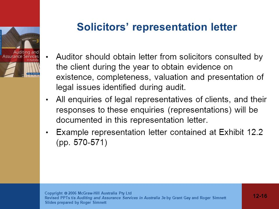 Solicitors' representation letter