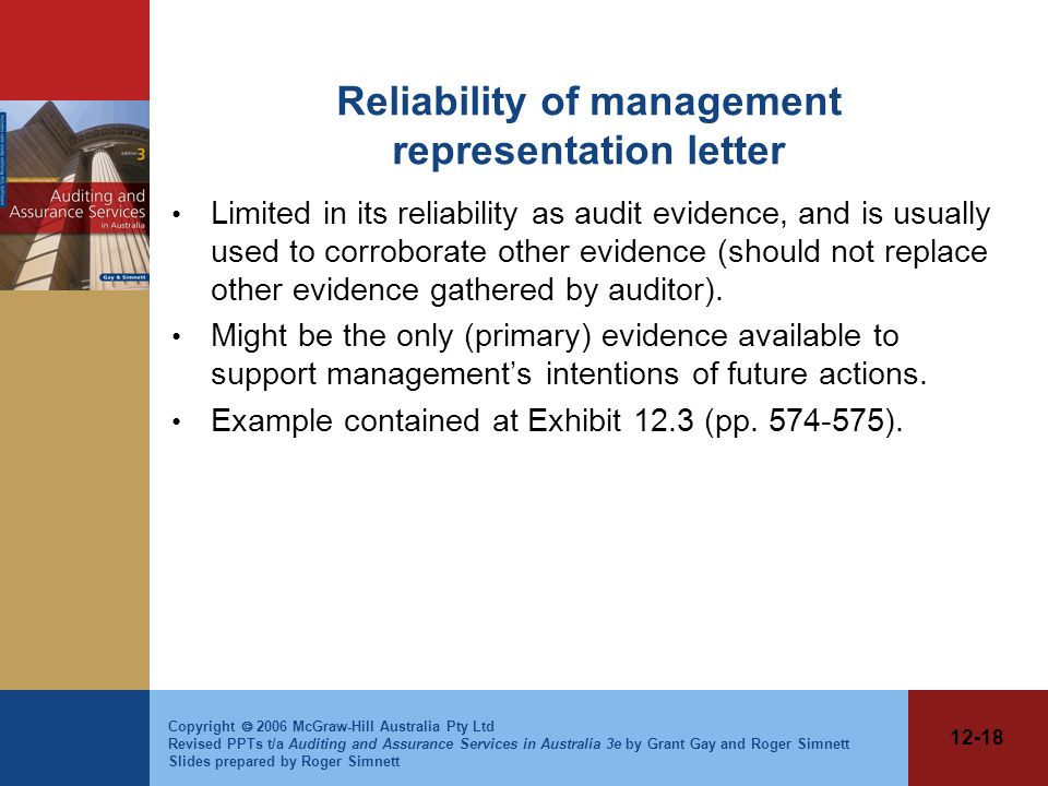 Reliability of management representation letter