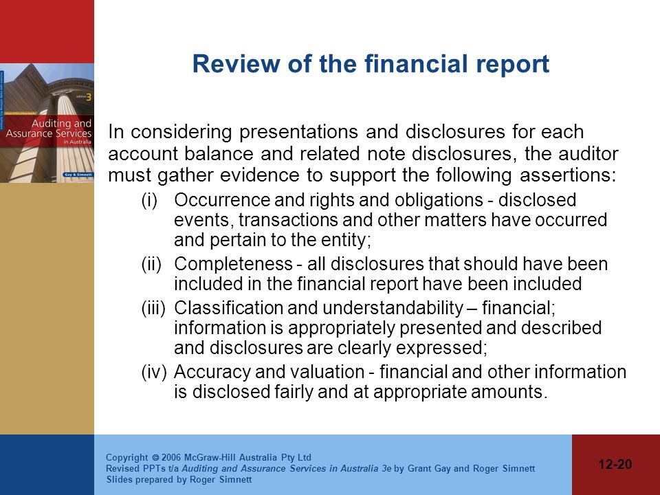 Review of the financial report