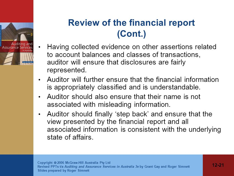 Review of the financial report (Cont.)