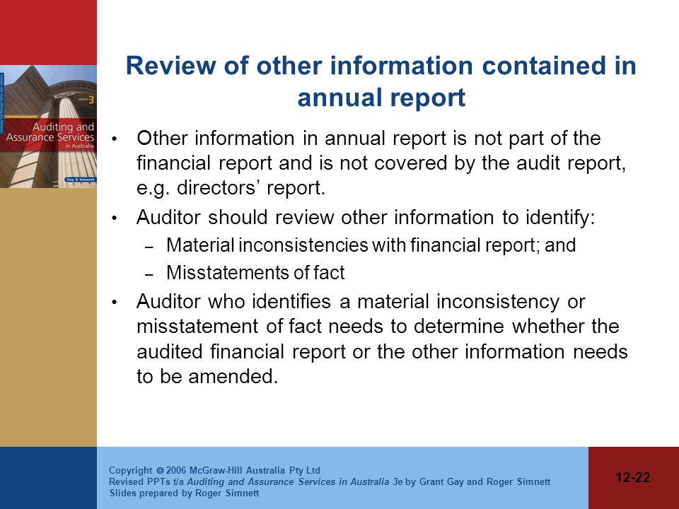 Review of other information contained in annual report