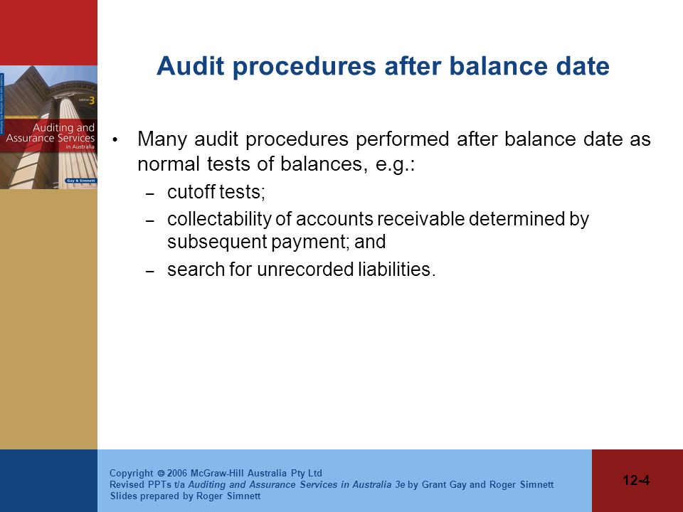 Audit procedures after balance date