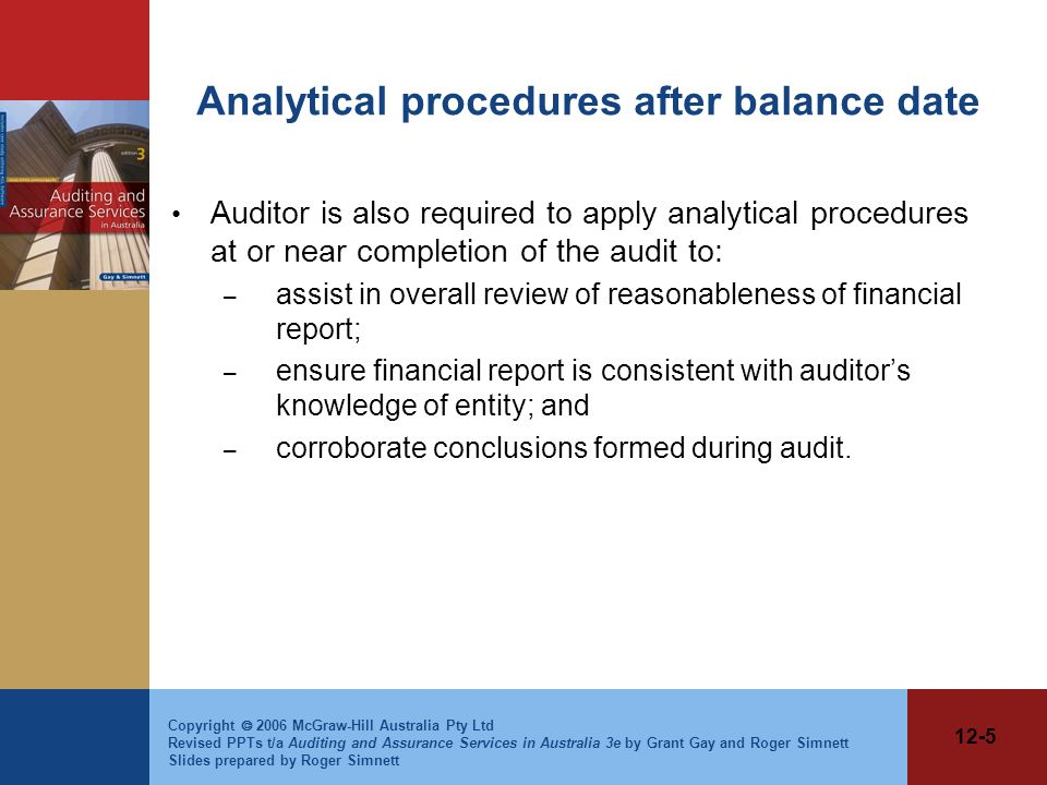 Analytical procedures after balance date