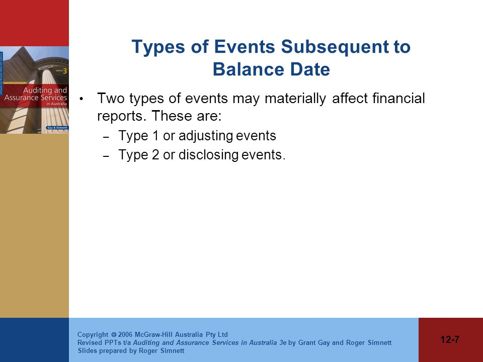 Types of Events Subsequent to Balance Date
