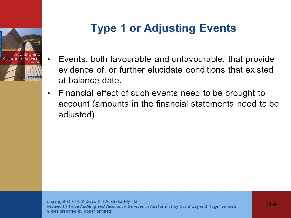 Type 1 or Adjusting Events