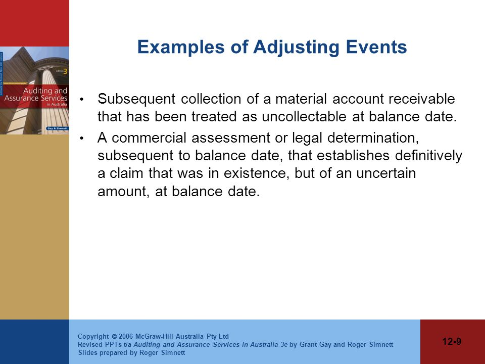 Examples of Adjusting Events