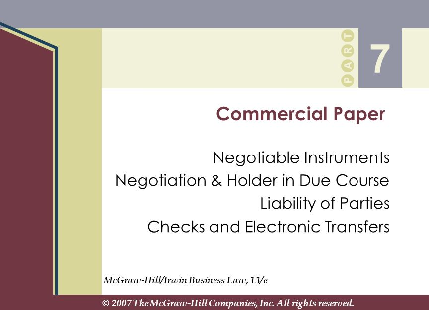 7 Commercial Paper Negotiable Instruments