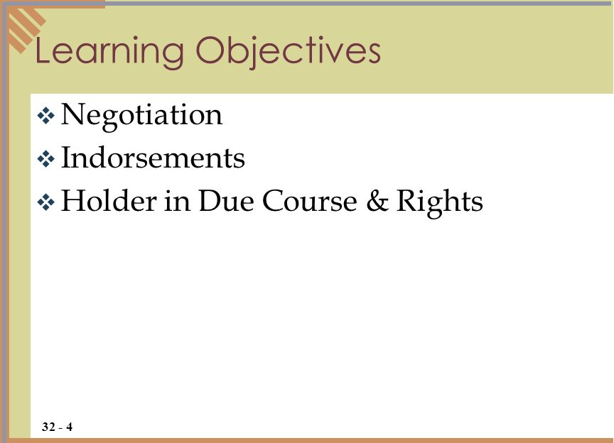 Learning Objectives Negotiation Indorsements