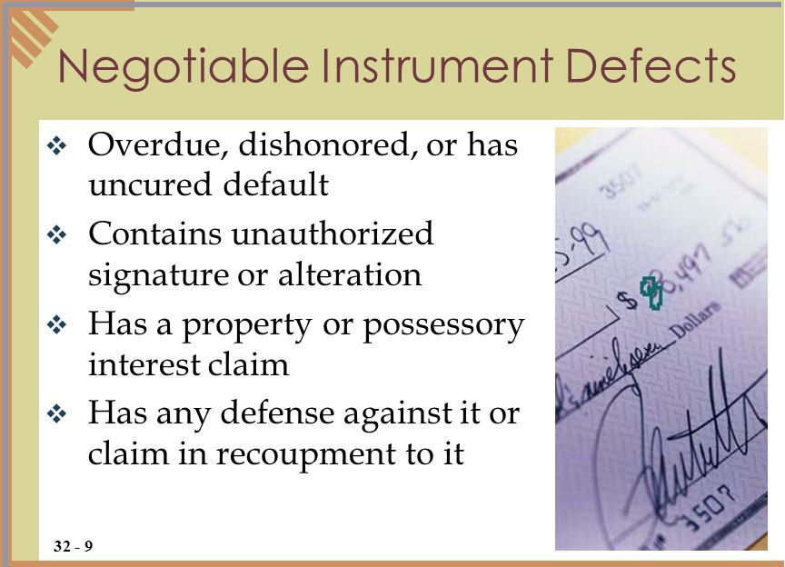 Negotiable Instrument Defects