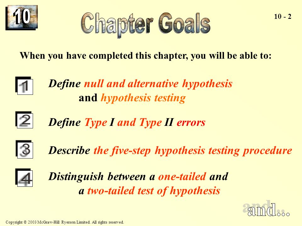 Chapter Goals When you have completed this chapter, you will be able to: Define null and alternative hypothesis and hypothesis testing.