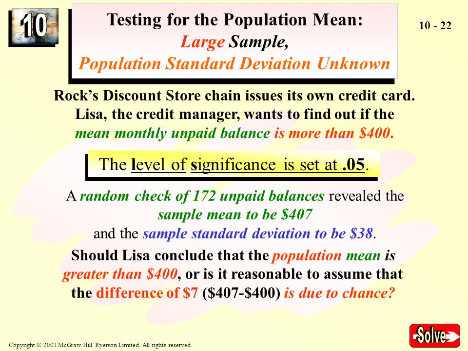 Solve Testing for the Population Mean: