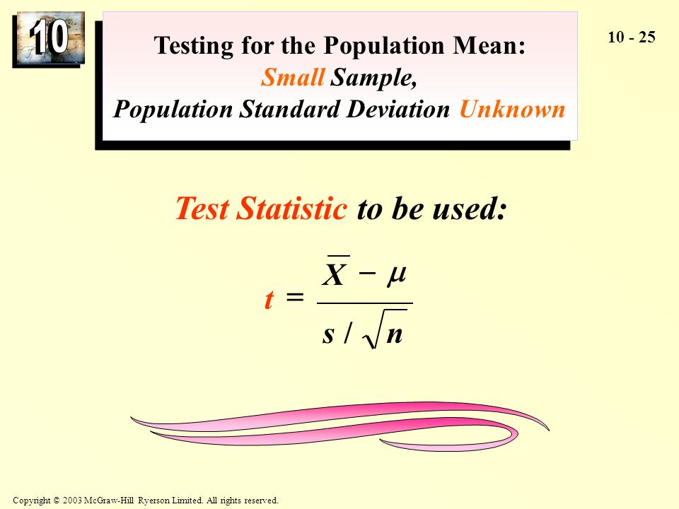 Test Statistic to be used: