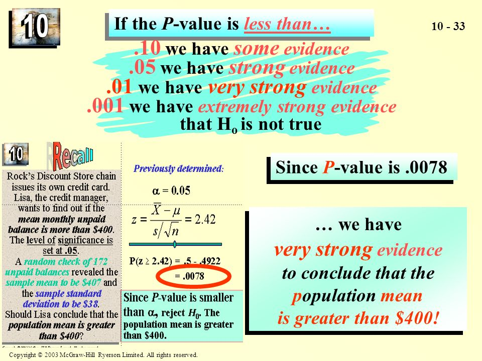 .05 we have strong evidence .01 we have very strong evidence