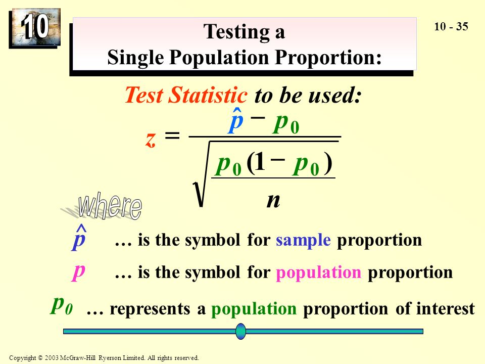 Testing a Single Population Proportion: Test Statistic to be used: